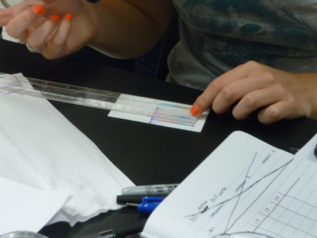 A closeup photo of a ruler along a sheet of paper.