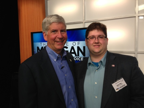 Gov. Rick Snyder and GRCC student Ross Pike