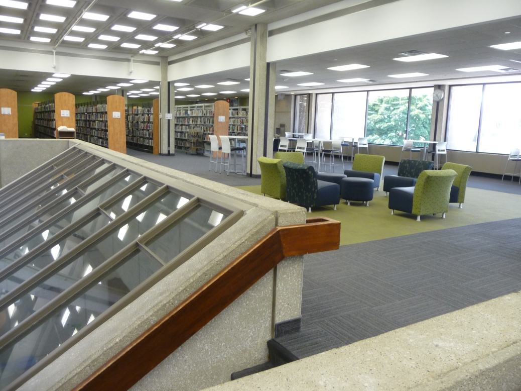 The second-floor study area of the library.