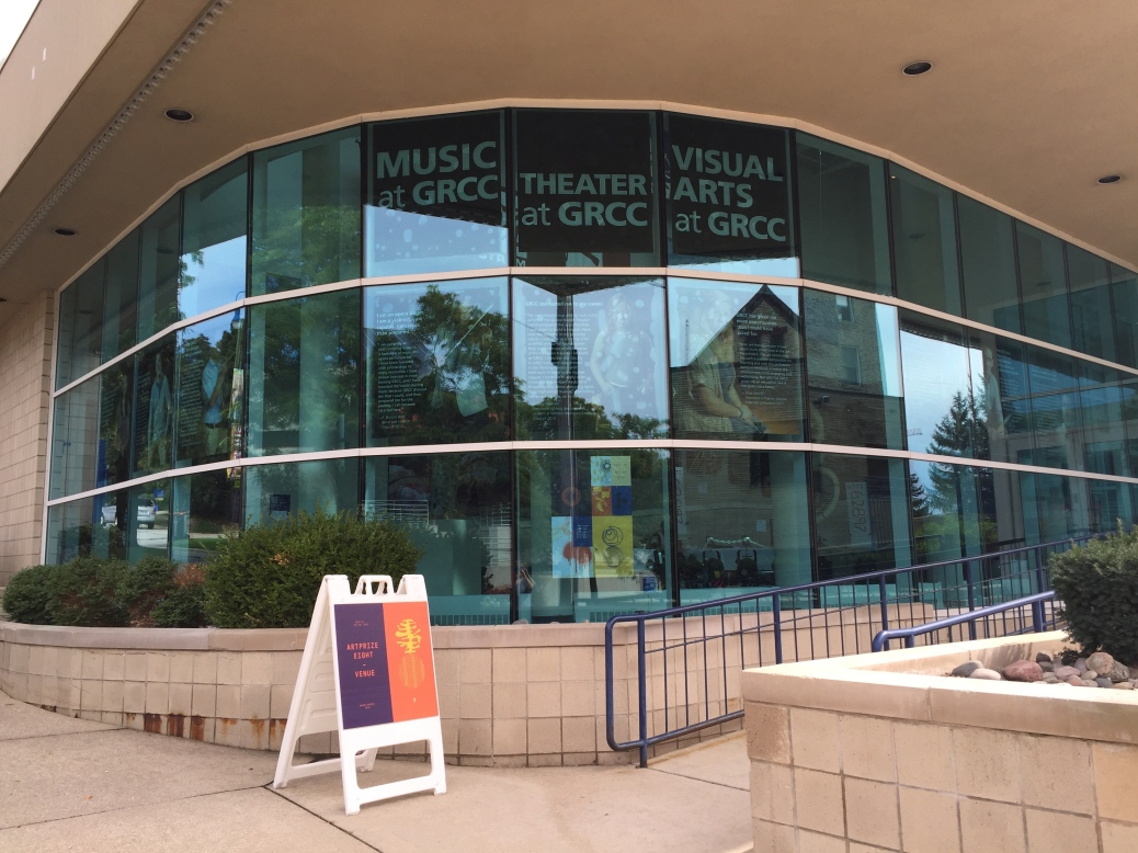 An ArtPrize venue sign sits outside the Spectrum Theater.