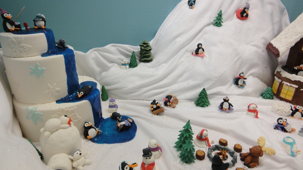 A ski lodge scene created by bakery students.