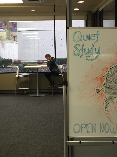 A student sits at a table by the windows in the library's quiet study space.