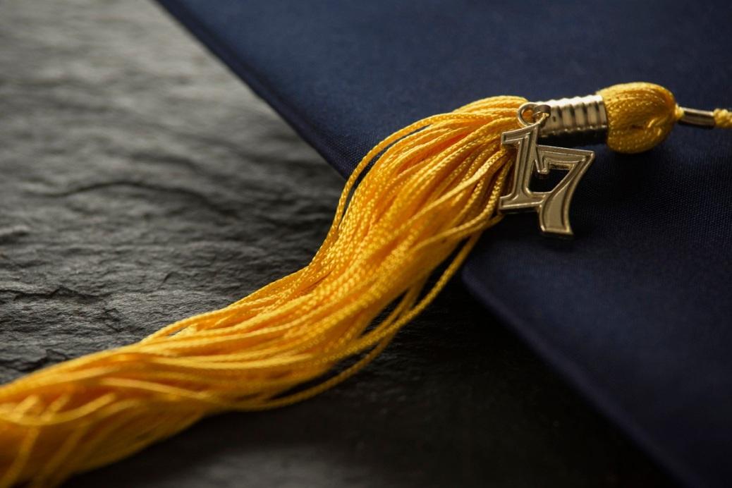 A 2017 tassel on a graduation cap