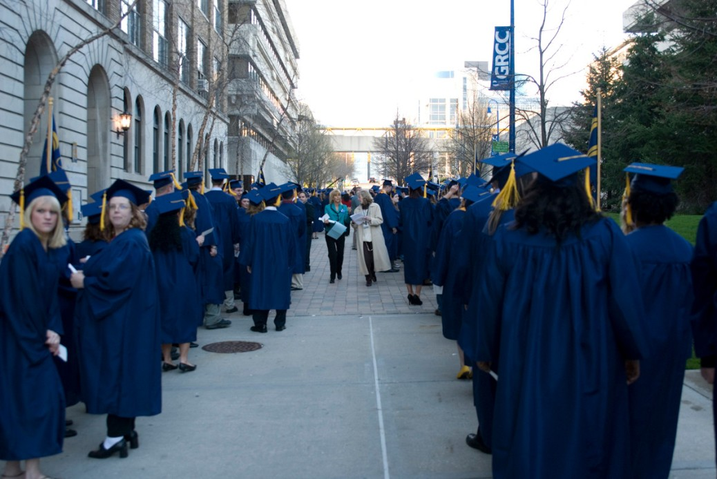 Graduates are lined up on the Student Plaza