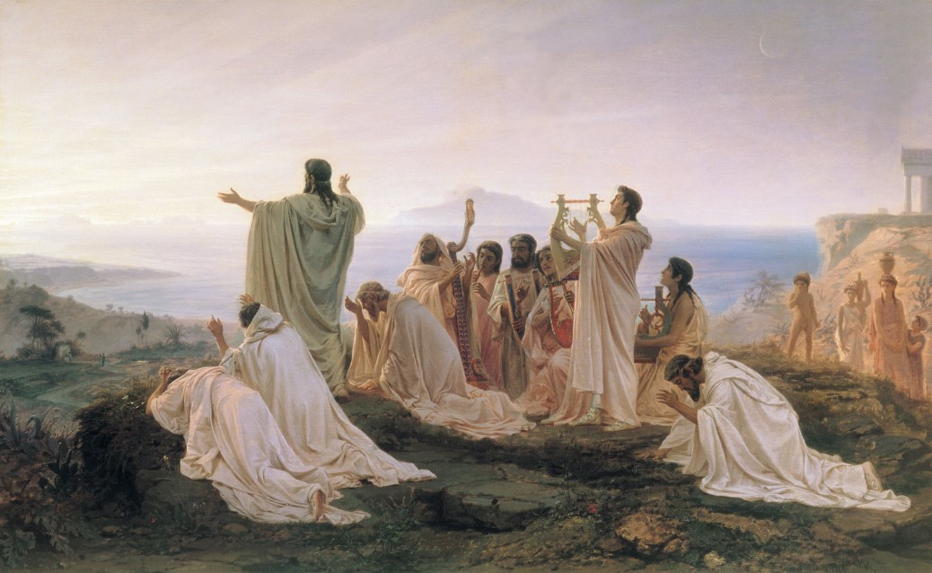 A painting by Fyodor Bronnikov shows the Pythagoreans worshipping the sun.
