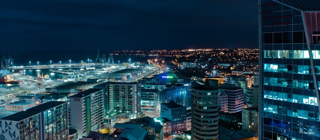 The city of Auckland, New Zealand, at night.