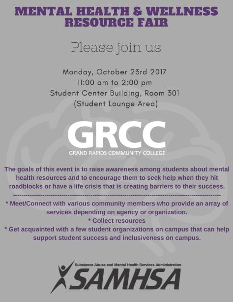 Flier for GRCC Mental Health & Wellness Resource Fair