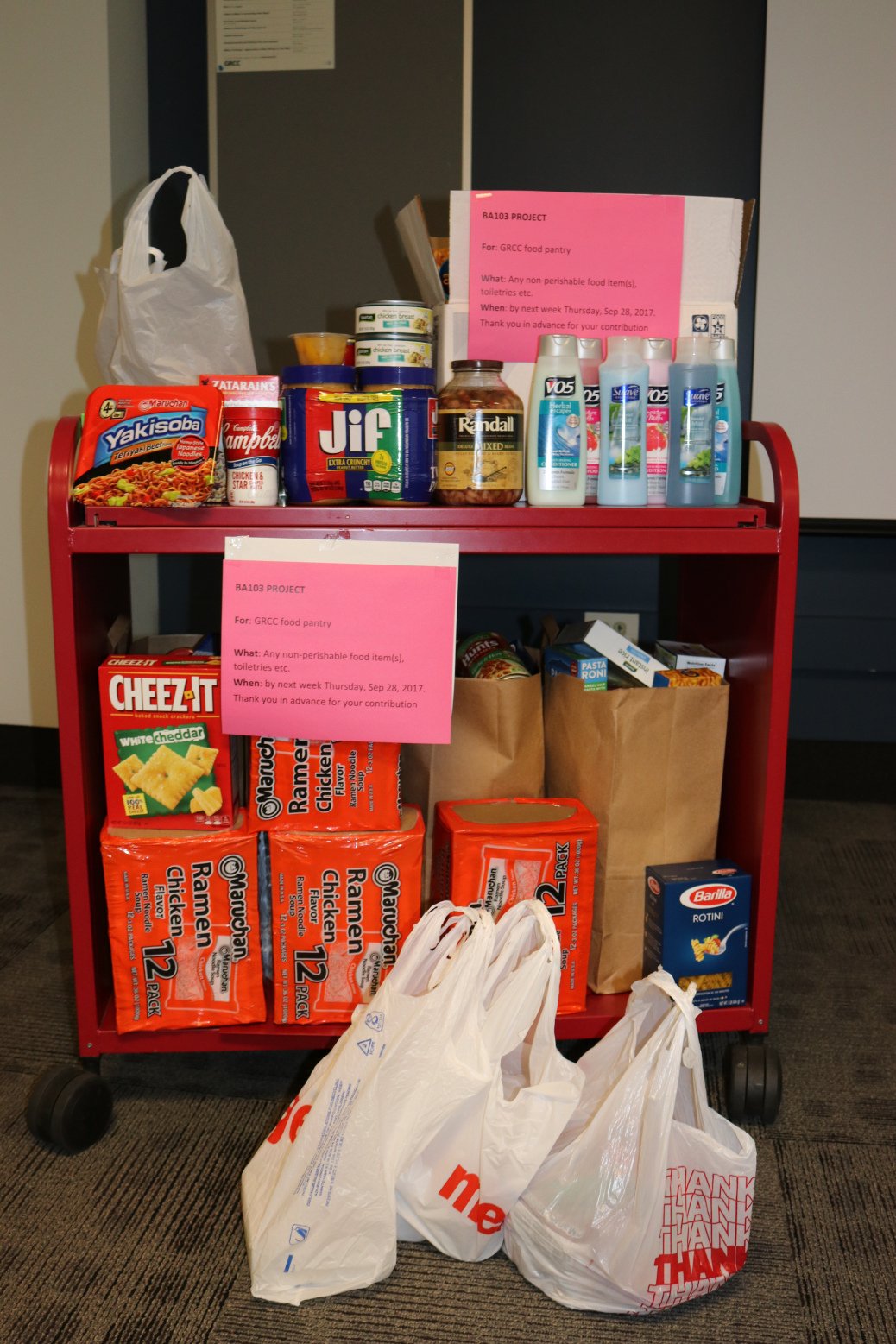A photo of Professor M. Righa's Introduction to Business class's food pantry donation