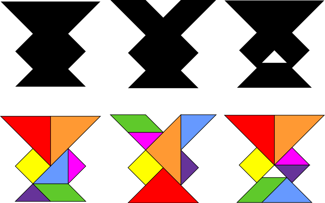 Three silhouettes of shapes are above the tangram shapes used to form them.