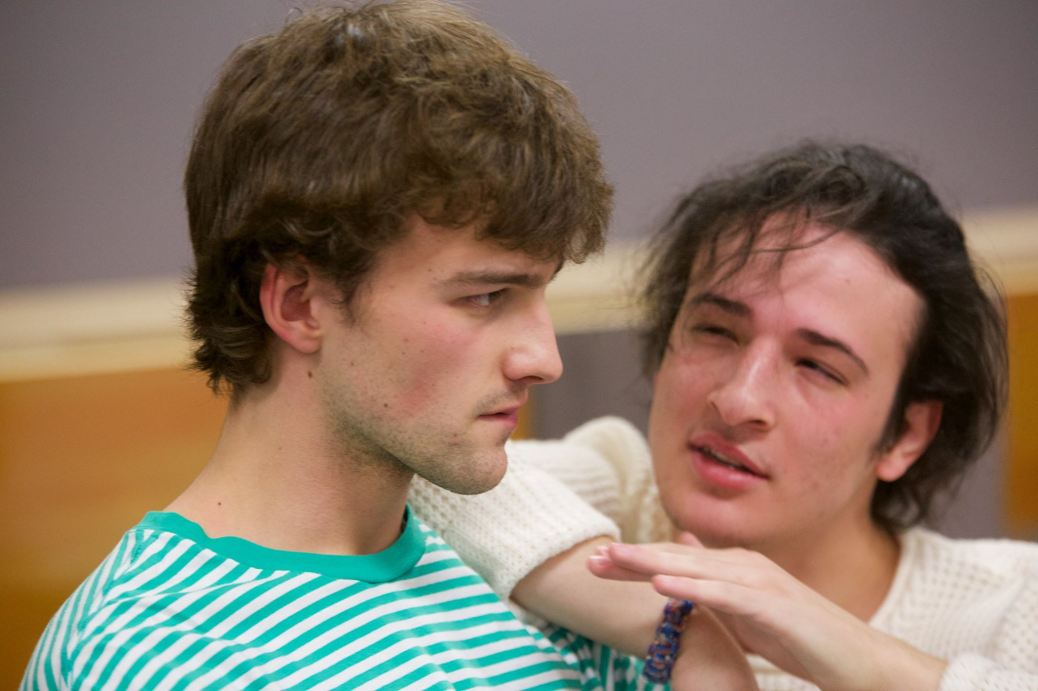 Anthony Snead talks to David Dekens during rehearsal.