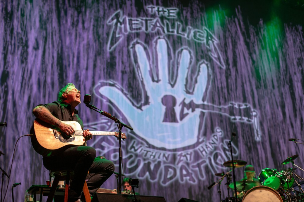 James Hetfield sings during a special acoustic show for the All Within My Hands Foundation.