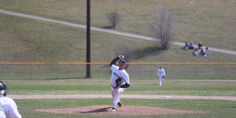 A GRCC pitcher prepares to throw.