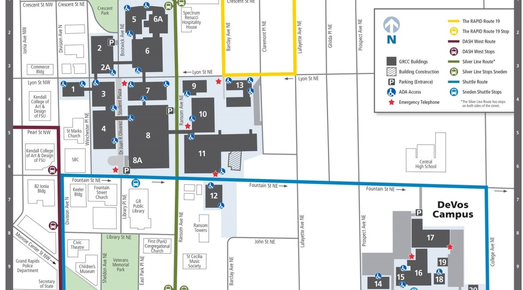 A map of GRCC's campus.